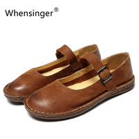 Whensinger 2018 New Spring New Shoes Buckle Strap Flats Genuine Leather Fashion Design 8567