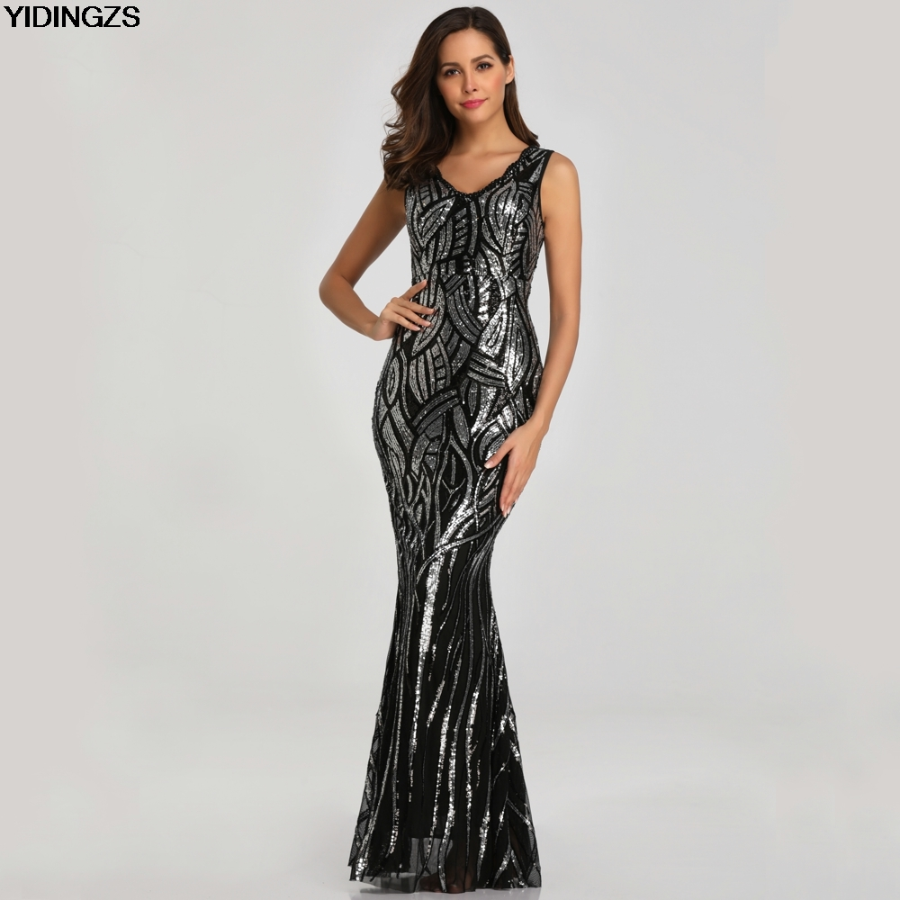 YIDINGZS New Sexy Black Sequins   Prom     Dress   V-neck Beading   Prom   Party   Dress