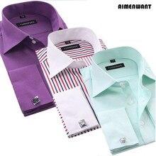 AIMENWANT, деловая Мужская рубашка с длинным рукавом, облегающие французские рубашки с манжетами, роскошные официальные клетчатые футболки для подарков
