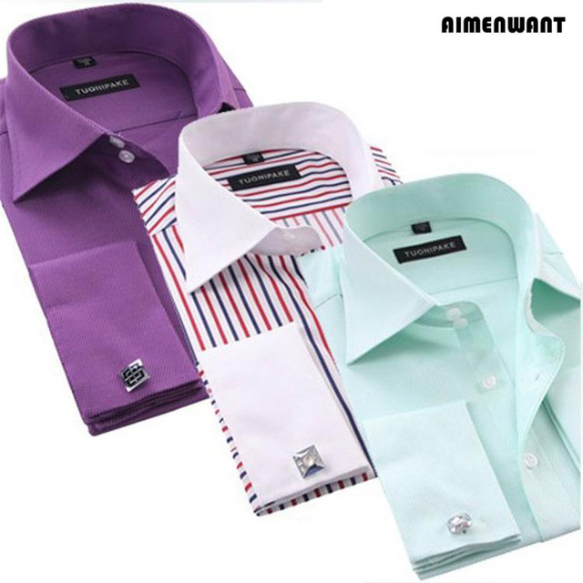 AIMENWANT 2017 negocios camisa de corte Slim de manga larga de puño francés de lujo Formal comprobado camisetas para regalo envío gratis