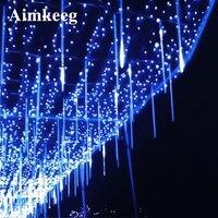 Wasserdicht Meteor Licht 20CM 30CM 50CM 8 Rohr Außen Urlaub Meteor Dusche Regen Rohr LED Weihnachten Licht fairy Baum Lichter