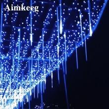 Waterproof Meteor Light 20CM 30CM 50CM 8 Tube Outdoor Holiday Meteor Shower Rain Tube LED Christmas Light Fairy Tree Lights led meteor rain 8 tube light white eu plug ac 100 240v