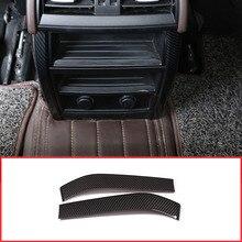 Углеродного волокна Стиль заднего кондиционер на выходе Vent Обложка отделки полосы для BMW X5 F15 X6 F16 2014- 2018 автомобильные аксессуары