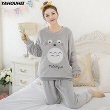Thick Warm Flannel Pajama Sets for Women 2019 Autumn Winter Long Sleeve Coral Velvet Pyjama Girls