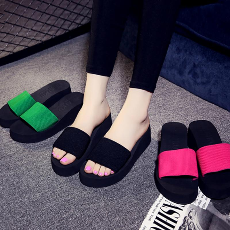 Platform bath slippers Wedge Beach Flip Flops High Heel Slippers For Women Brand Black EVA Ladies Shoes 5