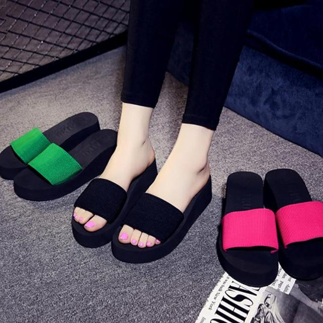 Platform bath slippers Wedge Beach Flip Flops High Heel Slippers For Women Brand Black EVA Ladies Shoes 5