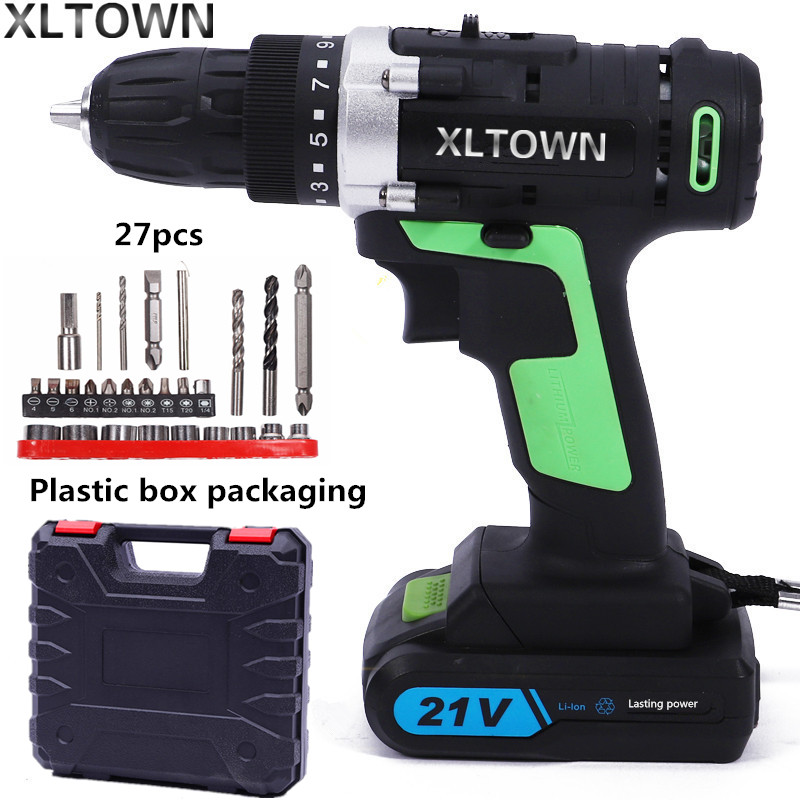 цена на XLTWON 21v cordless multifunctional electric screwdriver lithium battery rechargeable double speed drill Household power tools
