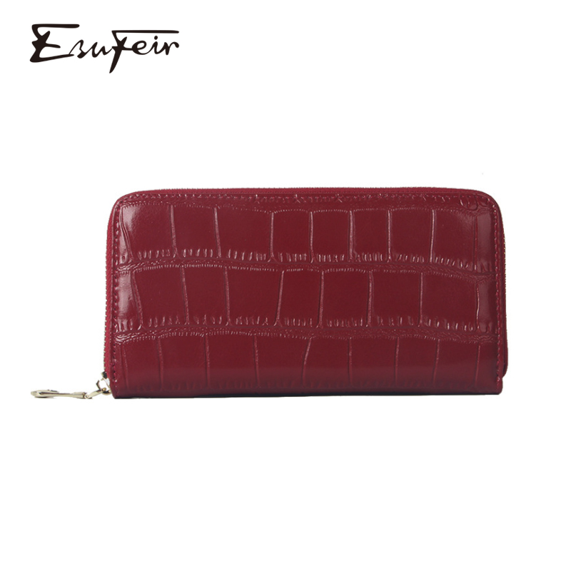 New Arrival 2019 Genuine Leather Women Wallet Embossed Cow Leather Women Long Standard Wallet Zipper Purse Ladies Cards Holder