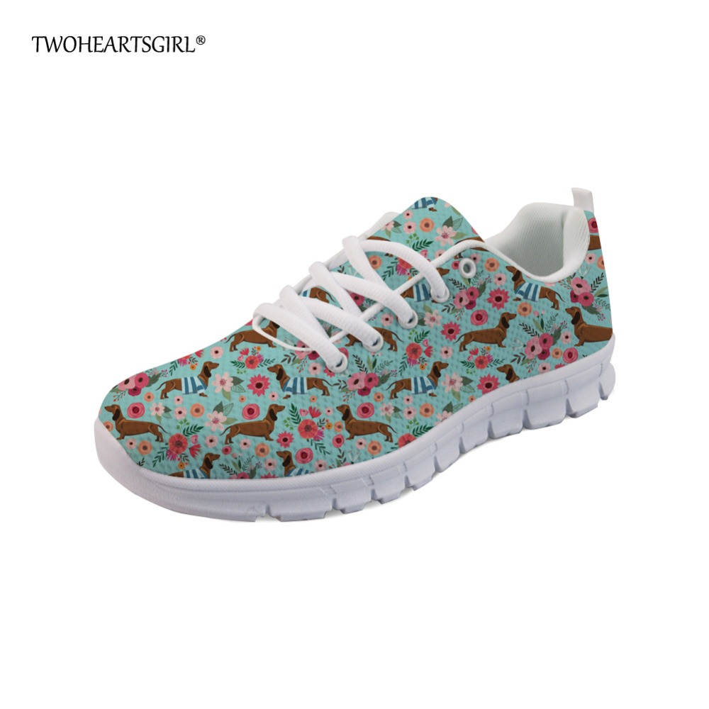 Twoheartsgirl Pretty Flower Style Flats Durable Women Lace Up Mesh Flat Shoes Casual Breathable Femme Dachshund Pattern Sneakers instantarts women flats emoji face smile pattern summer air mesh beach flat shoes for youth girls mujer casual light sneakers