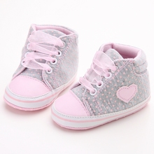 Pink Polka Dot Cotton Soft Sole Baby Shoes Lace-up Spring/Autumn First Walkers Newborn Infant Toddler Crib Girl Shoes Wholesale(China)