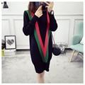 НОВЫЙ горячий продажа женская осень зима весна долго стиль трикотажные свитера платье женщины колледж ветер сладкий пуловеры платья