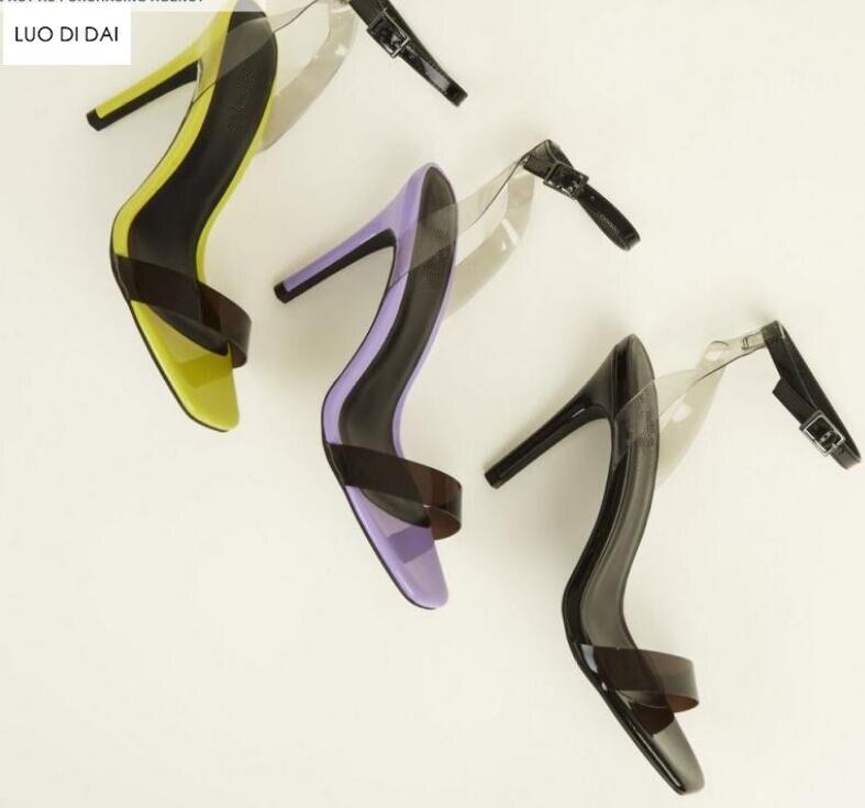 De Soirée Bout Hauts Ouvert Brevet Femmes Cuir Talons Jaune Nouvelles En Mariage Chaussures À Spartiates 2019 Sandales Pvc tHwIc4Fq