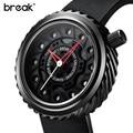 Break homens legal sports watch pulseira de borracha moda casual paixão top luxo geek presente criativo relógios de pulso à prova d' água