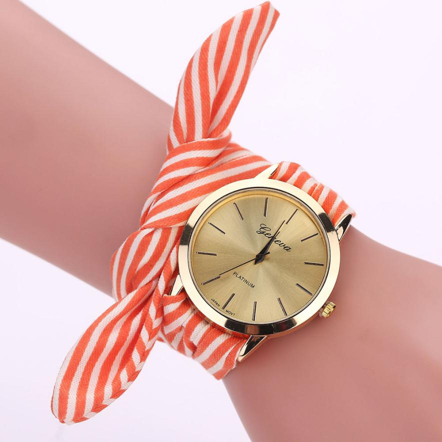 Women Stripe Floral Cloth Quartz Dial Bracelet Wristwatch Watch Gift Sport Casual Vintag ...