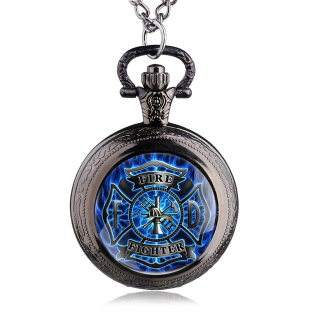 2016 New Fashion Blue Fire Fighter Control Pocket Watch Pendant Fire Dept Neckla