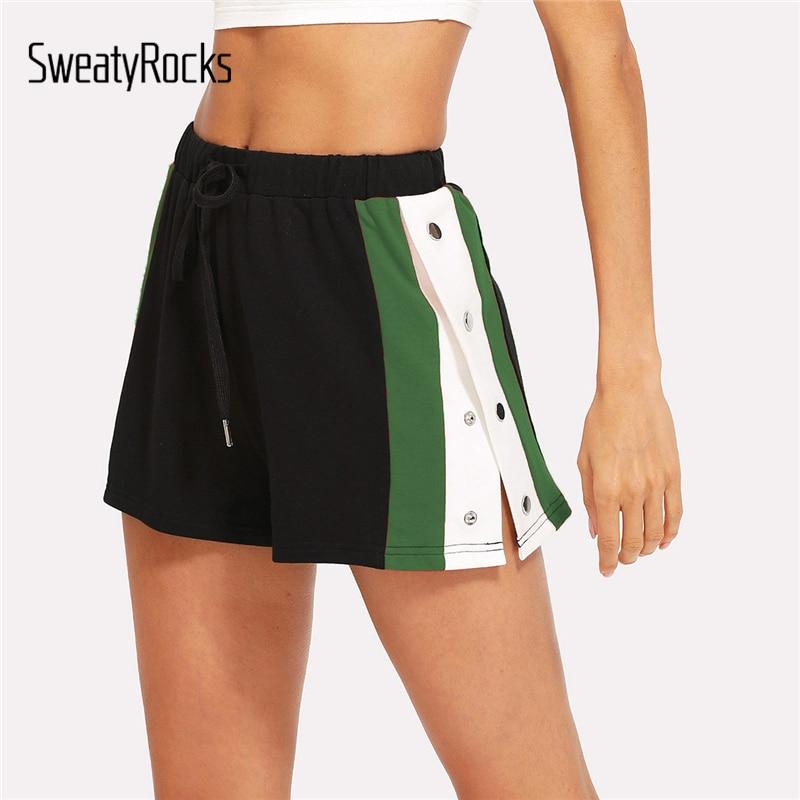 SweatyRocks Side Striped Button Embellished Shorts Summer Elastic Waist Drawstring Shorts Women Black Colorblock Sporting Shorts|Shorts|   - AliExpress