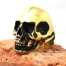Tamaño 7 a tamaño 15 acero inoxidable 316L fresco Golden Skull Biker anillo diseño más reciente