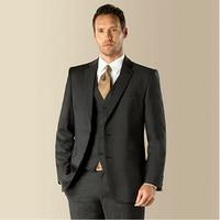 Grooms Men Tuxedos groom suit Custom Made Wedding Suits For Men With Pants plus size Dark Gray Notch Lapel Jacket+Pants+Tie+Vest