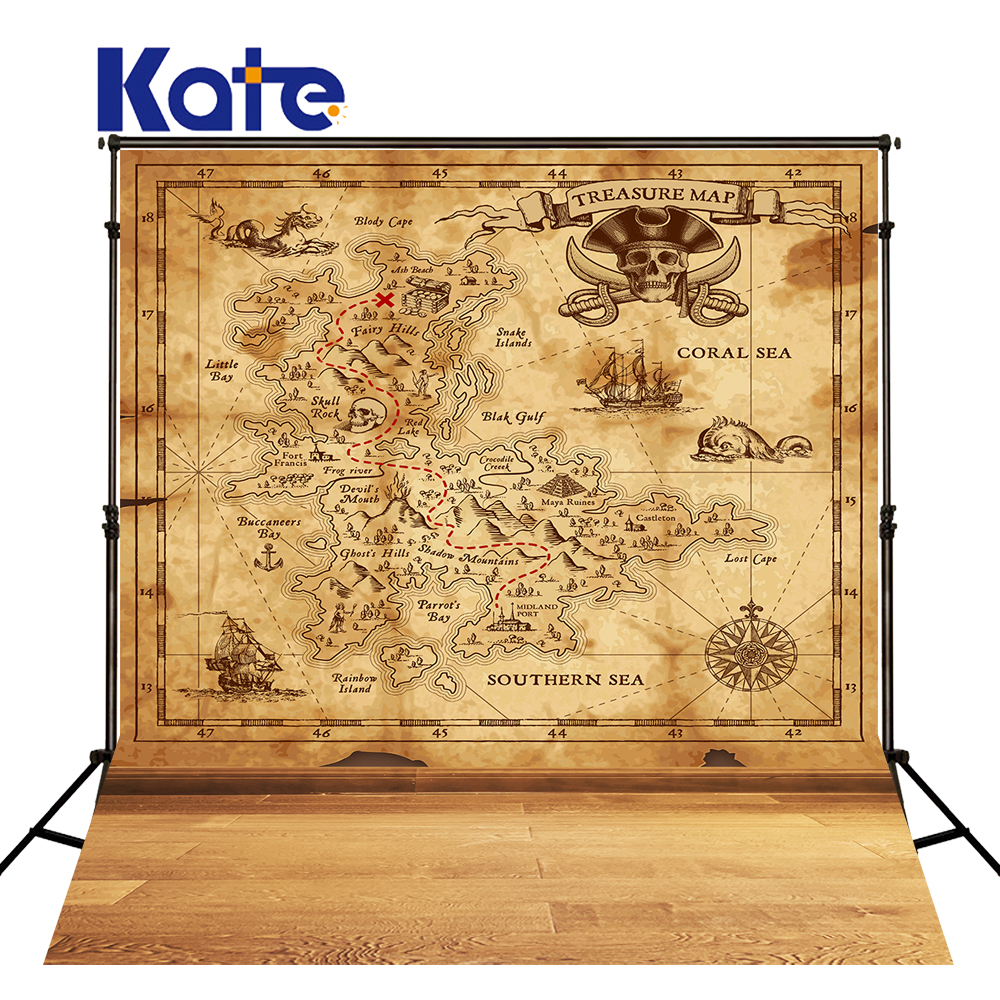 Kate 10x20FT Pirate Map Backdrops Solid Color Wood Floor Background Newborn Photography Photo for Children Photography Shoot kate dry land photography backdrops land photography background retro children custom backdrop props for newborn photo shoot