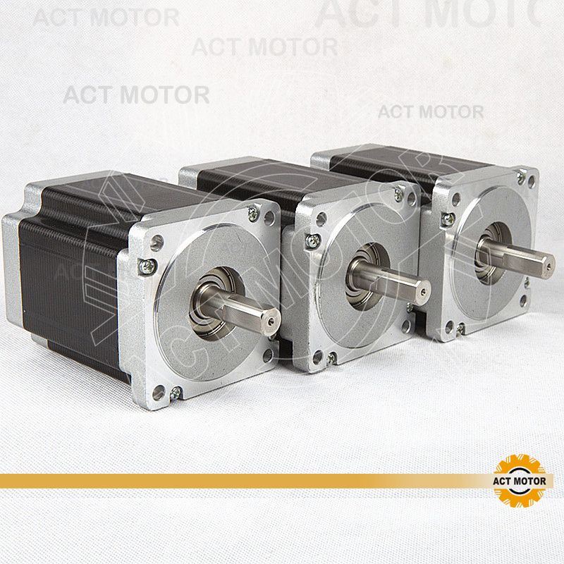 ACT Motor 3PCS Nema34 Stepper Motor 34HS1456 Single Shaft 4-Lead 1232oz-in 118mm 5.6A Bipolar CE ISO ROHS US CA DE UK JP Free act motor 4pcs nema34 stepper motor 34hs9820 890oz in 98mm 2a 8 lead single shaft ce iso rohs plastic us ca de uk it fr jp free