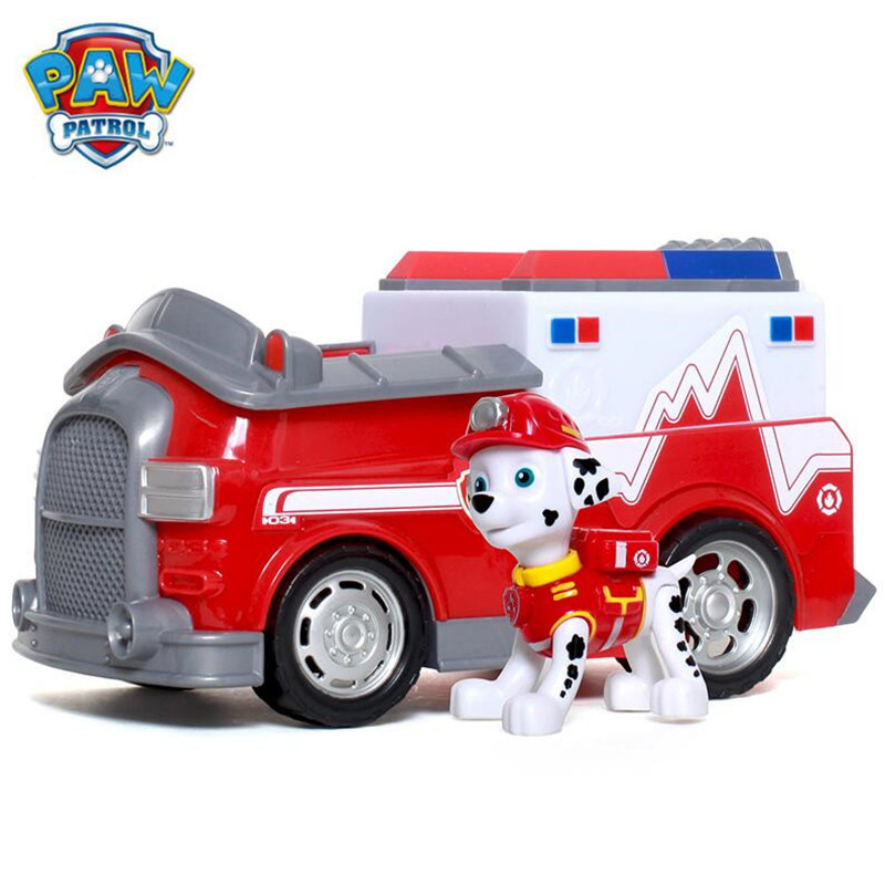 Paw patrol Puppy Patrol Dog Marshall  Anime Toys Figurine Car Toy Action Figure model patrulla canina toys Children Gifts new 8 styles russian cartoon pat canine patrol puppy dog toys car action figures model dolls kids gift pow pet patrulla canina