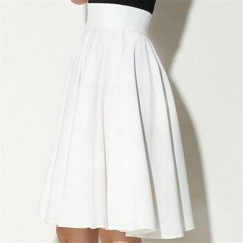 Black White Midi Skirts Womens Summer High Waist Pleated Skirt Skater Vintage Saia Feminina Jupe Longue Femme Plus Size Skirt 5