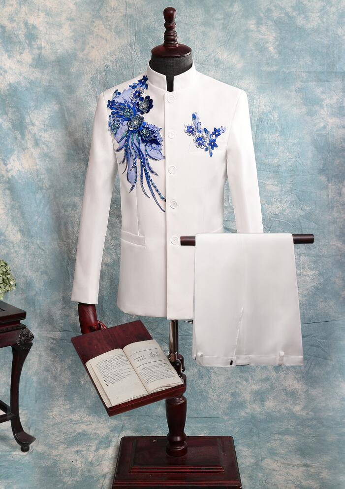 Блейзер Мужской китайский туника костюм мужские свадебные костюмы блесток певица звезда Стиль хор сцена цветок из текстиля бальное платье homme