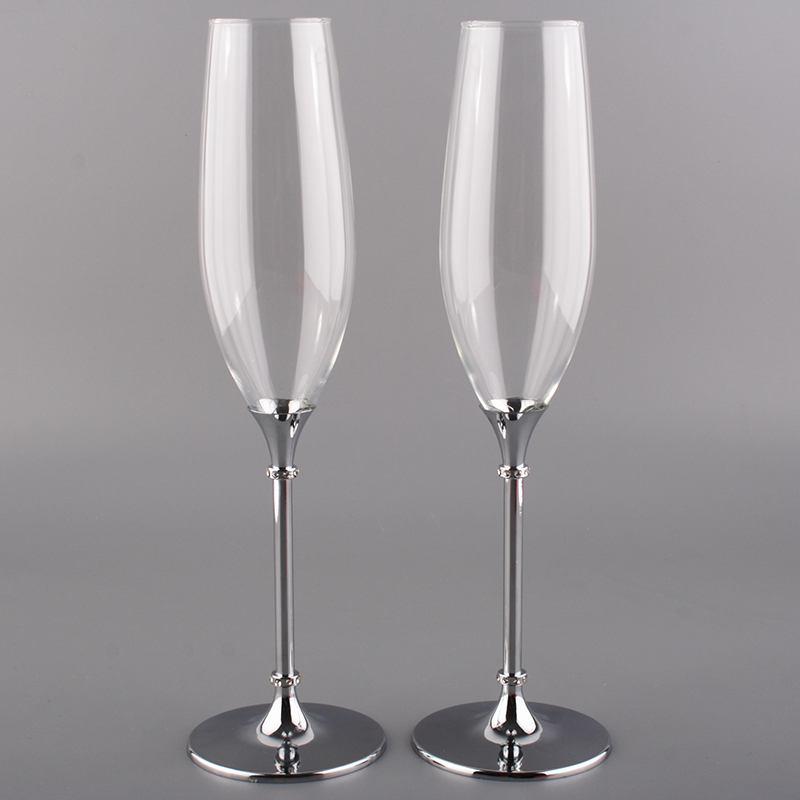2016 Hot 200ml Couple Champagne Glass With Metal Stem
