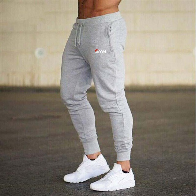 2019 GYMS New Men Joggers Brand Male Trousers Casual Pants Sweatpants Jogger grey Casual Elastic cotton Fitness Workout pan 1