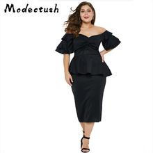 Modecrush Women Maxi Dress 2019 Summer Slash Neck Slim Ruffle Sleeve Midi Dresses Female Vintage Club Sheath Black Party Vestido