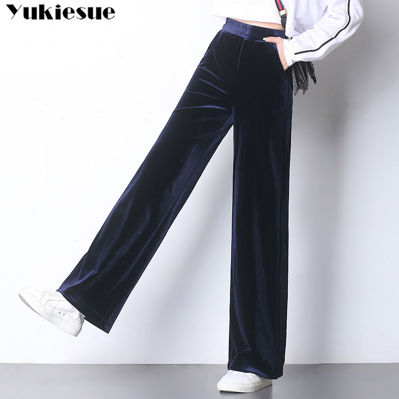 2019 New High Waisted   Wide     Leg     Pants   Casual Loose   Pants   Black Palazzo Trousers spring autumn pleuche velvet   Pants   for Women