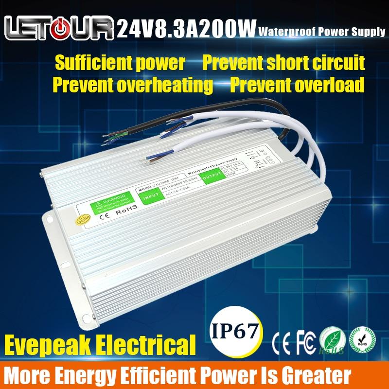 ФОТО 24V 8.5A Power Supply Waterproof IP67 Adapter AC 96V-240V Transformer DC 24V 200W AC-DC LED Driver Switching Power Supply CE FCC