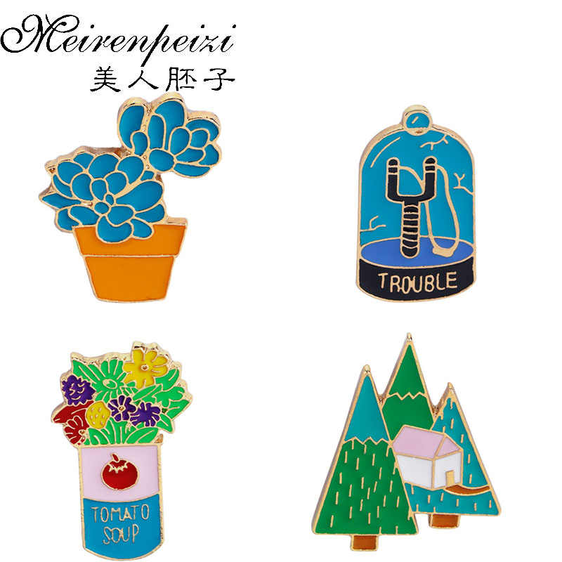 Brooches Pins Flowers Potted Plants House Tree Forest Brooch Denim clothes Pin Buckle Badge Gift for Girls Boys