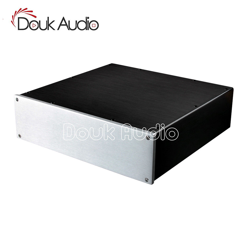 Douk Audio Aluminium Case Amplifier Enclosure Power Amp Chassis DAC Box W320*H92*D308 mm queenway audio bz2012rkv aluminium amplifier chassis multi amplifier case 202mm 143mm 362mm 202 143 362mm