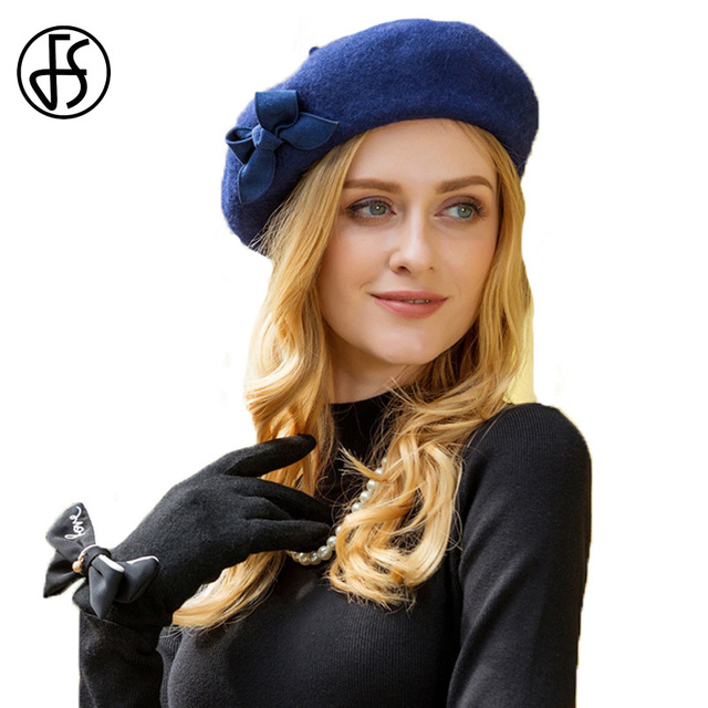 FS French Wool Beret Women Winter Navy Blue Hats For Ladies Flat Cap Lady  Girls Soft 3bfc2564f3a
