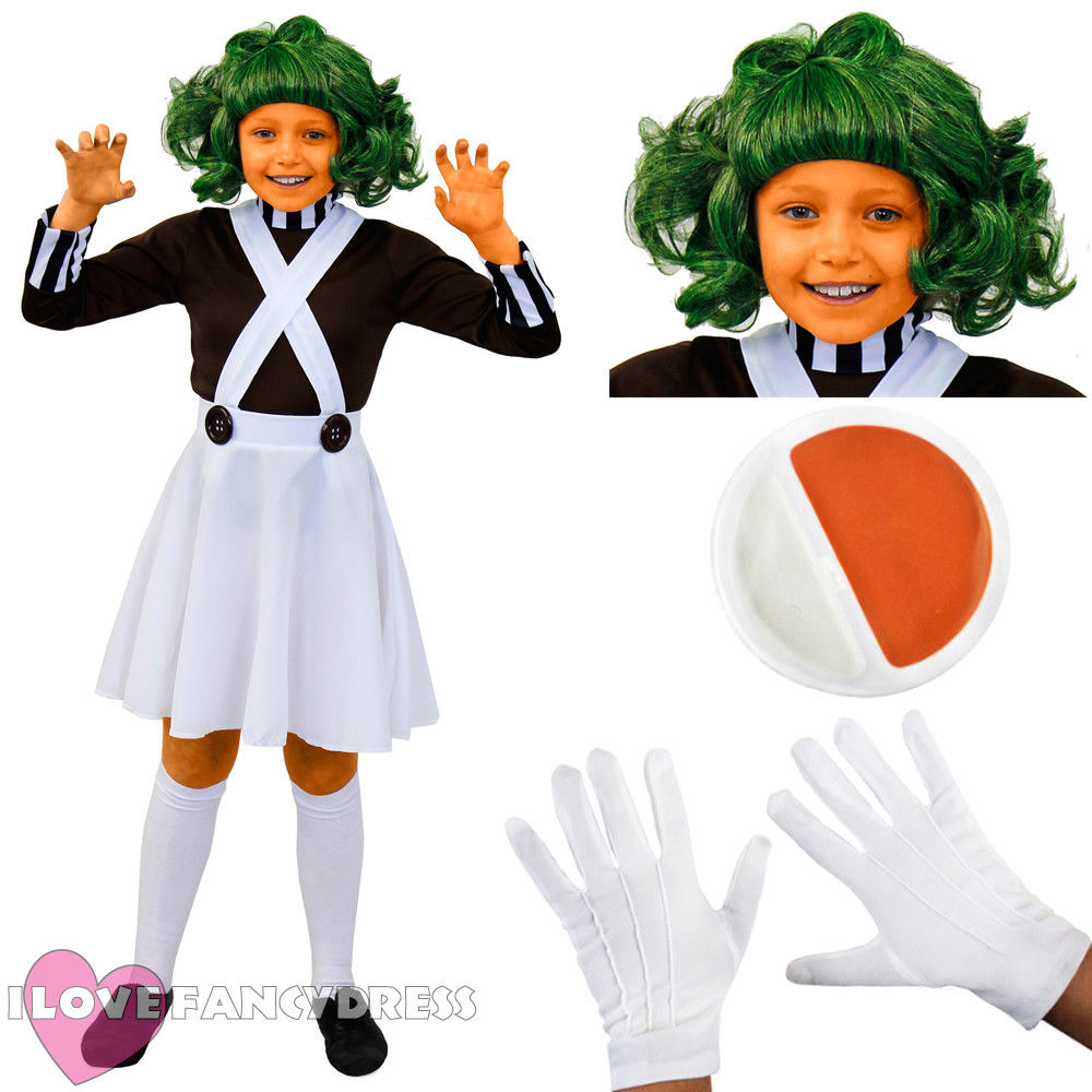 I LOVE FANCY DRESS GIRLS KIDS CHOCOLATE FACTORY WORKER COSTUME SCHOOL BOOK WEEK FANCY DRESS COSTUME DUNGAREES HALLOWEEN COSPLAY