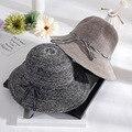 2017 nuevo sombrero de sun Plegable sombreros de Verano para las Señoras de Las Mujeres ocasionales Grande ancho Brim Floppy Beach Sun Del Sombrero de Paja Del Casquillo Del Sombrero de Las Mujeres