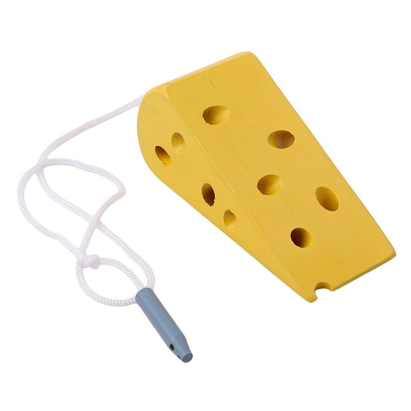 Montessori preschool toy mouse through cheese