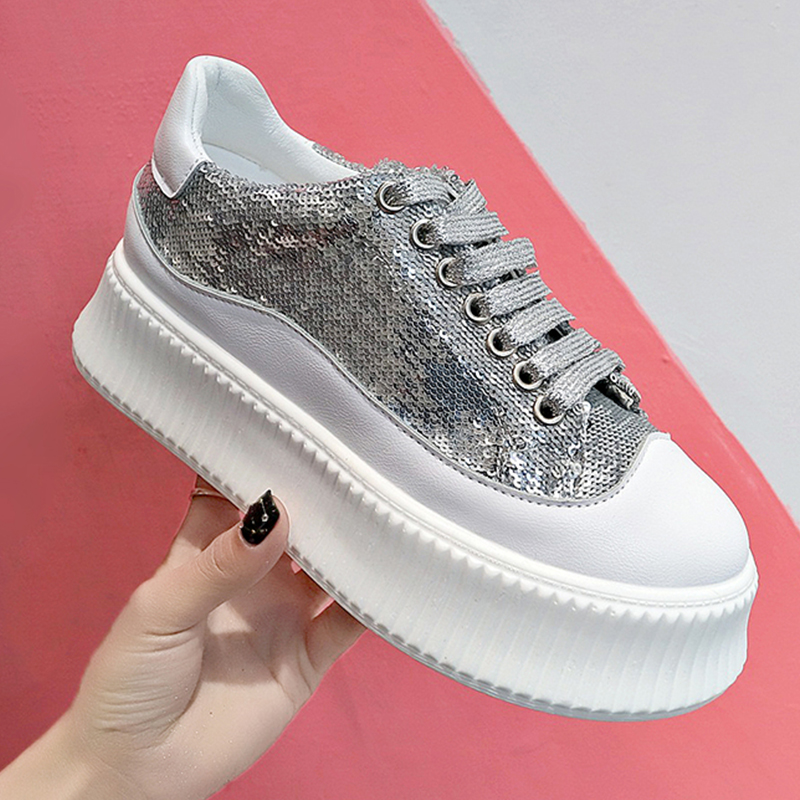 Bling Vulcanize Shoes Woman Sneakers 2019 Spring Casual Flat Platform Shoes Glitter Trainers Ladies