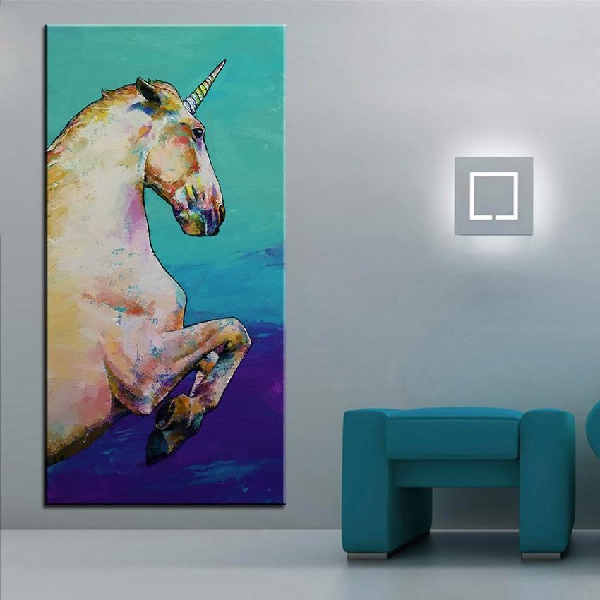 ộ_ộ ༽Impresión de gran tamaño pintura al óleo blanco unicornio ...