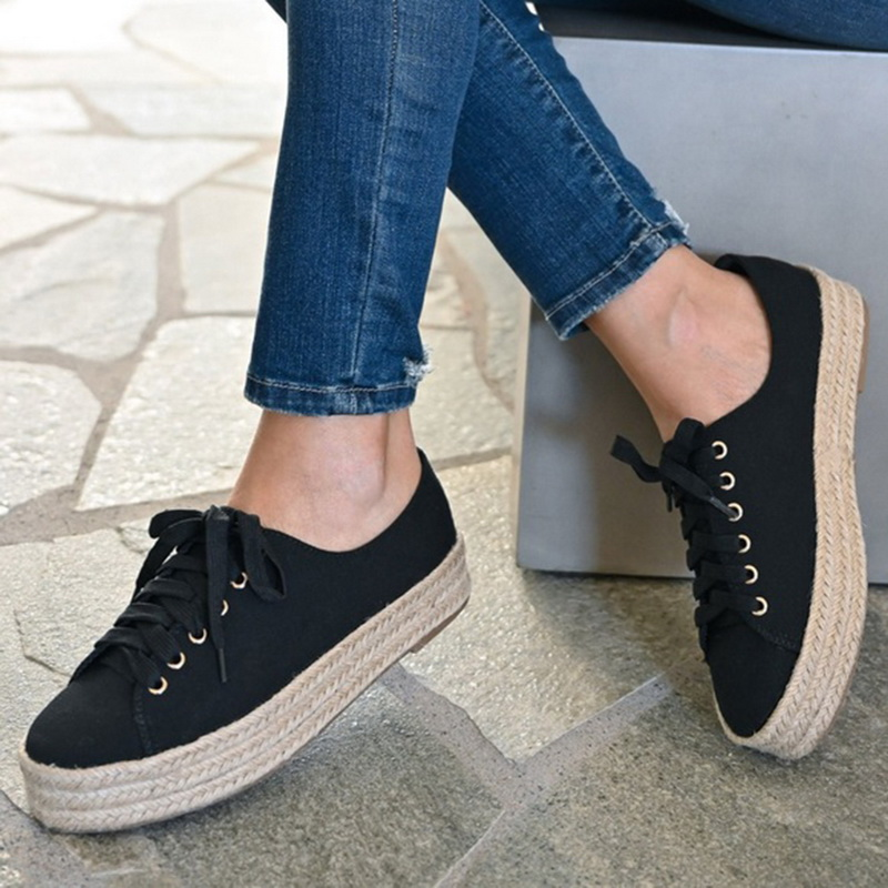 Litthing Leopard Spring Women Shoes Lace-Up Casual Canvas Platform Shoes Woman Sneaker Comfortable Women Flats zapatos de mujer