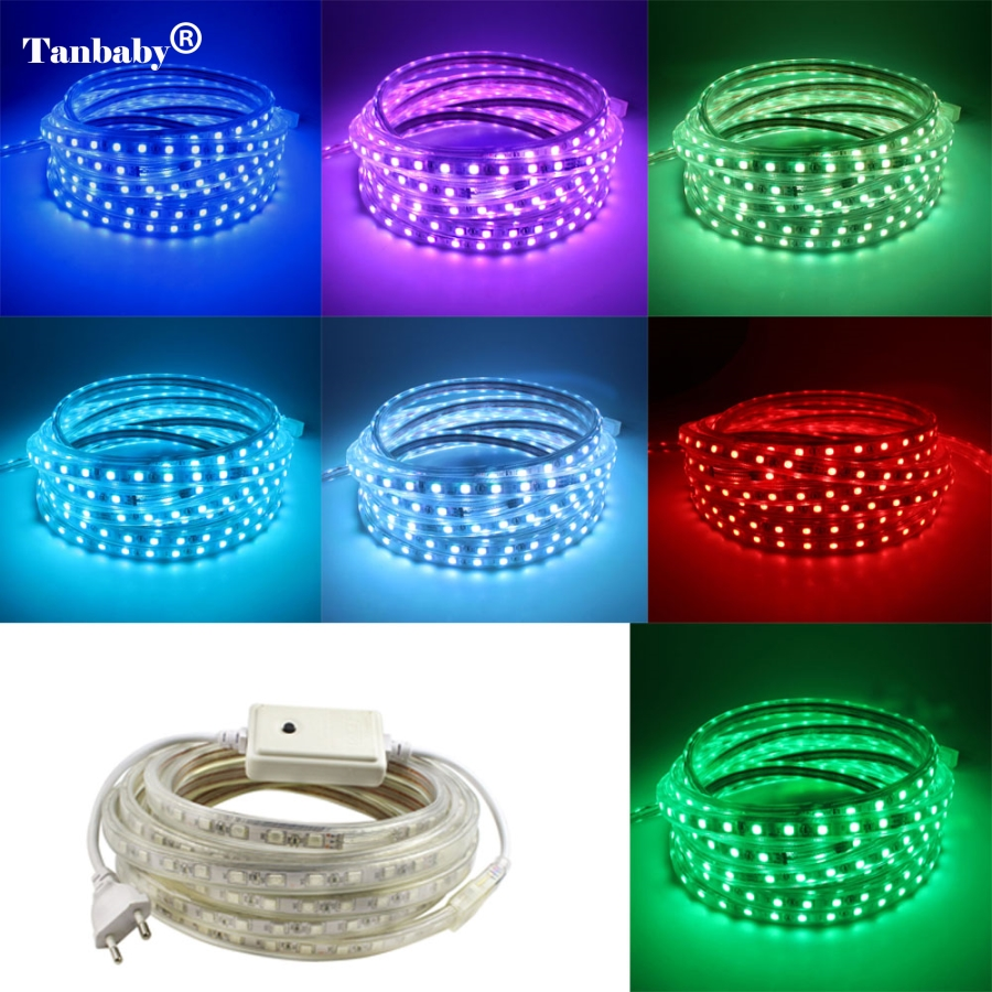 Led Strip 6m Smd 5050 Ac 220v Led Strip Flexible Light 1m 2m 3m 4m 5m 6m 7m 8m 9m 10m 15m 20m Power Plug 60leds M Waterproof Led Light In Led Strips From Lights