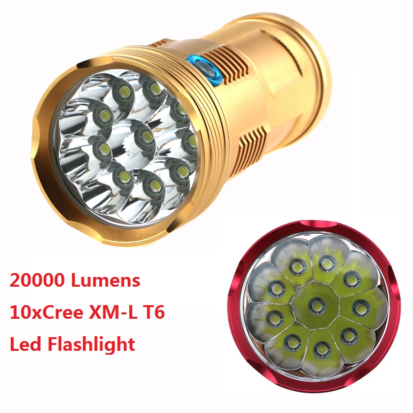 Skyray 20000 Lumen Led Tactical Working Hunting Flashlight 10x Cree XM-L T6 Led Lanterns Torch Lamp 3 Mode for 18650 Battery 20000 lumens skyray king 10 x cree xm l t6 led flashlight torch lamp light for hunting camping 4 pcs 18650 battery charger
