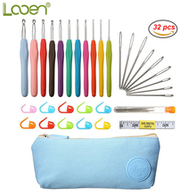 Looen 32 pcs Crochet Hooks Set Yarn Knitting Hooks With Blue Case Sewing Needles Tape Measure Set For Women Mom DIY Craft Tools