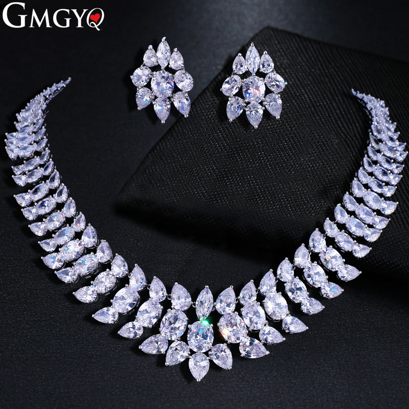 GMGYQ Bright Exaggerated CZ Zirconia Necklace Bridal Wedding Jewelry Set For Women Luxury Accessories