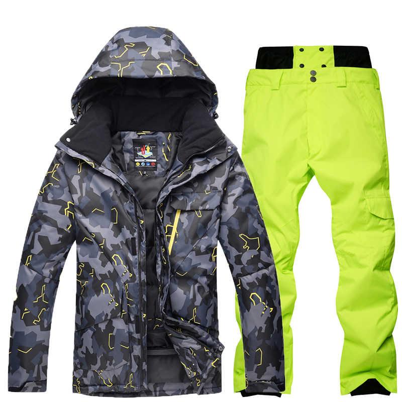 Gsou 雪新迷彩スキースーツ、紳士服、屋外防風、防水スキースーツスキージャケット + パンツ冬暖かいスキー