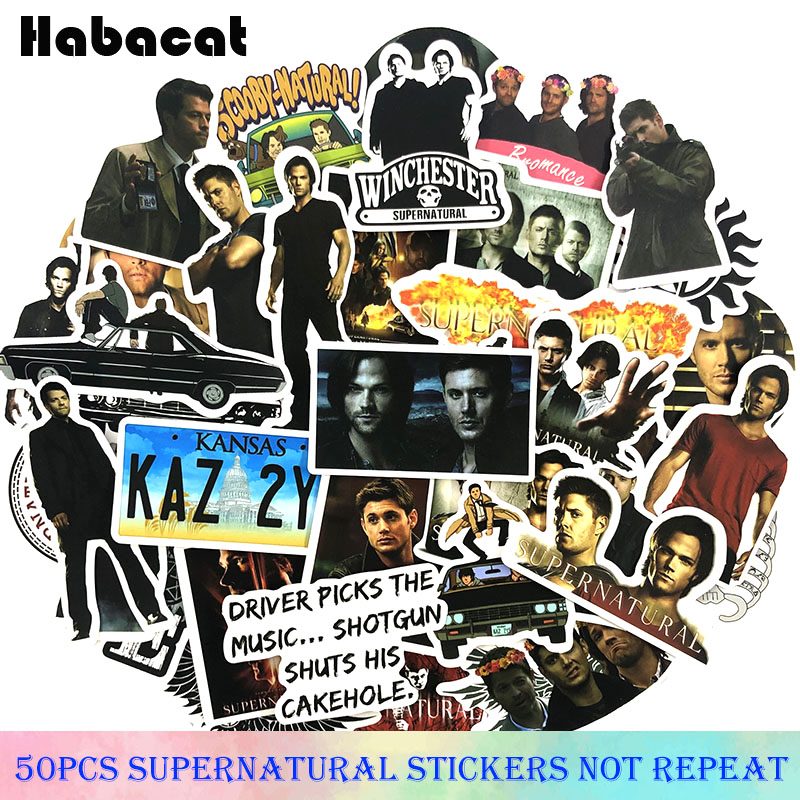 50 Pcs/Pack Supernatural Drama Movie Stickers For Skateboard Guitar Motorcycle Luggage Laptop Bicycle Decorative Fridge Stickers