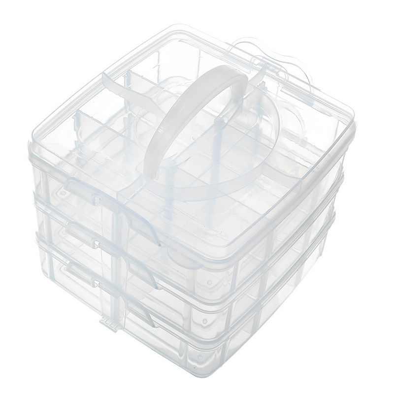 Hoomall 3 Camada 18 Grades Caixa De Armazenamento De Plástico Ajustável Caso Maquiagem Cosméticos Organizador Medicina Caixa de Artigos Diversos Caixas de Jóias