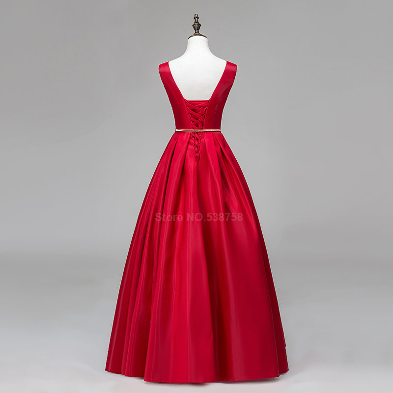 V-cou Double épaule robe de bal longue a-ligne rouge élégant tache formelle soirée robes robe de soirée livraison gratuite - 2