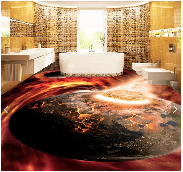3d wallpaper custom 3d flooring painting wallpaper cool for Bathroom floor mural sky